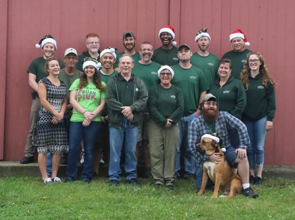 Green Valley moving team posing for the christmas card